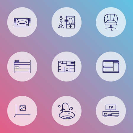 Home decoration icons line style set with double decker bed, carpet, house plan and other mat elements. Isolated vector illustration home decoration icons.
