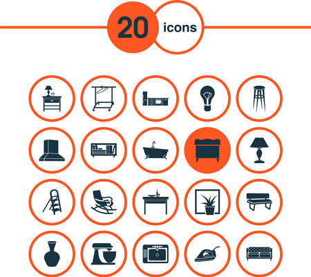 Housing icons set with clothing rack, mixer, kitchen set and other bookcase elements. Isolated vector illustration housing icons. Ilustração