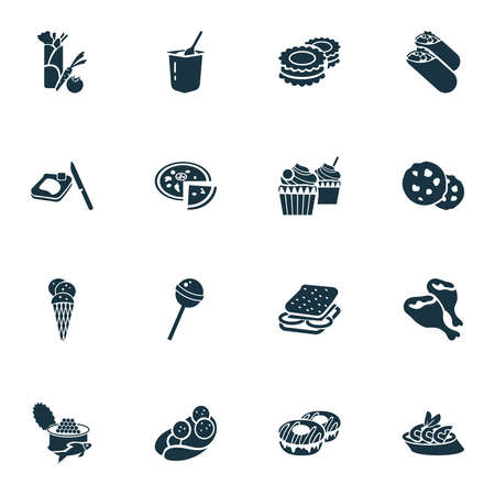 Gourmet icons set with chocolate cookie, vegetarian kebab, coned ice cream and other burger elements. Isolated vector illustration gourmet icons.