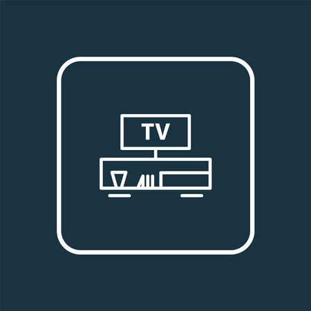 Tv bench icon line symbol. Premium quality isolated television element in trendy style.