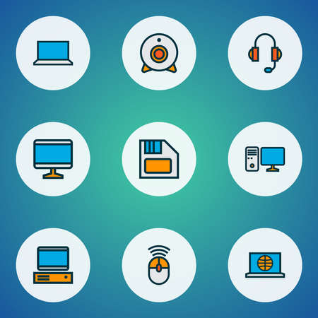 Hardware icons colored line set with computer monitor, laptop, computer mouse and other scrolling elements. Isolated vector illustration hardware icons. Ilustração