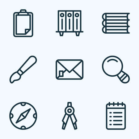 Instrument icons line style set with to do list, brush, compass and other survey elements. Isolated vector illustration instrument icons.