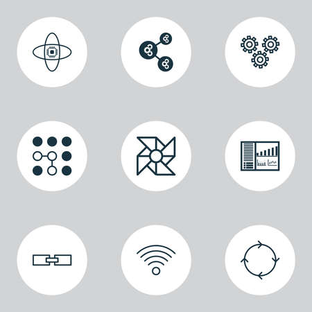 Robotics icons set with gear algorithm, wifi, cogwheels and other controlling board elements. Isolated vector illustration robotics icons.