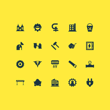 Industry icons set with high rise buildings, saw, barrage and other labor elements. Isolated vector illustration industry icons.