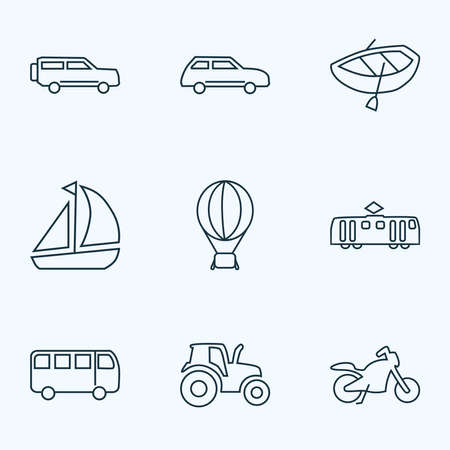 Transport icons line style set with city car, bus, motorcycle and other sedan elements. Isolated vector illustration transport icons. Ilustração
