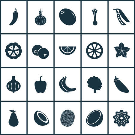 Fruit icons set with onion, pepper, natural and other cayenne elements. Isolated vector illustration fruit icons.