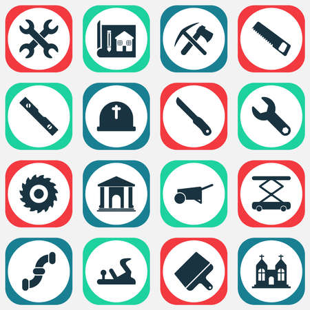 Construction icons set with wrench, ax with pickax, construction hoist and other sharp elements. Isolated vector illustration construction icons. Ilustração