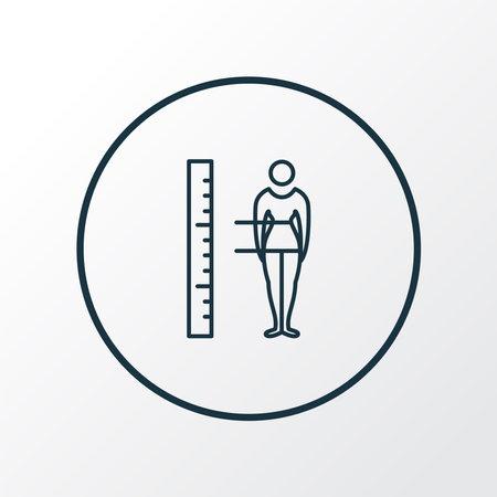 Body measurement icon line symbol. Premium quality isolated figure element in trendy style. Stock Illustratie