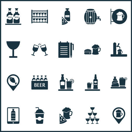 Drink icons set with geolocation, liquor, pizza with beer and other chacha with ice elements. Isolated vector illustration drink icons.