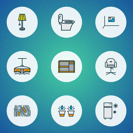 Decor icons colored line set with fridge, toilet, stylish chair and other image elements. Isolated vector illustration decor icons.