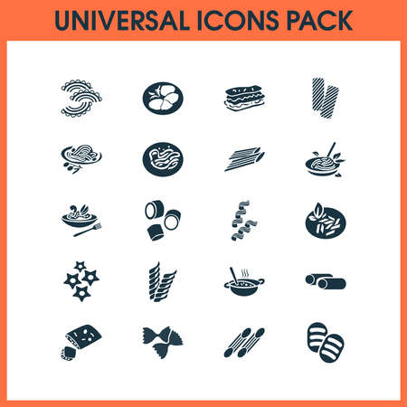 Traditional meal icons set with cavatappi pasta, tasty, carpaccio and other penne elements. Isolated vector illustration traditional meal icons. Ilustração