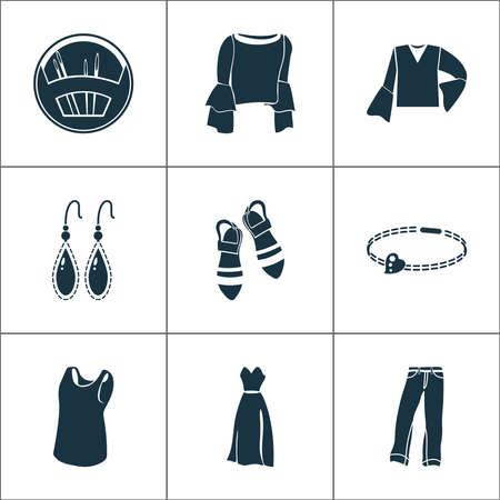 Fashion design icons set with sleeveless shirt, needle set, bracelet and other blouse elements. Isolated vector illustration fashion design icons.