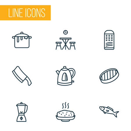 Cook icons line style set with grater, sieve, hot rice and other cleaver elements. Isolated vector illustration cook icons.