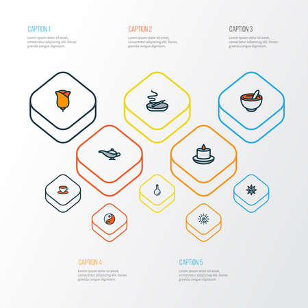 Relax icons colored line set with candle, lamp, healthy food aromatherapy elements. Isolated vector illustration relax icons.