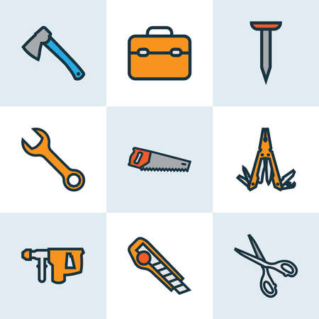 Handtools icons colored line set with saw, nail, hatchet and other bolt nut elements. Isolated vector illustration handtools icons. Ilustrace