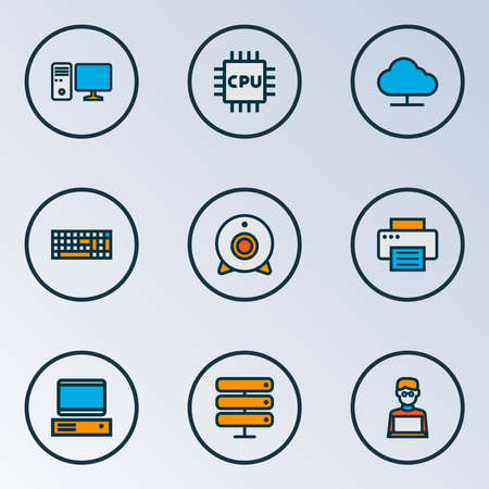 Hardware icons colored line set with web cam, man with laptop, PC and other storage elements. Isolated vector illustration hardware icons.