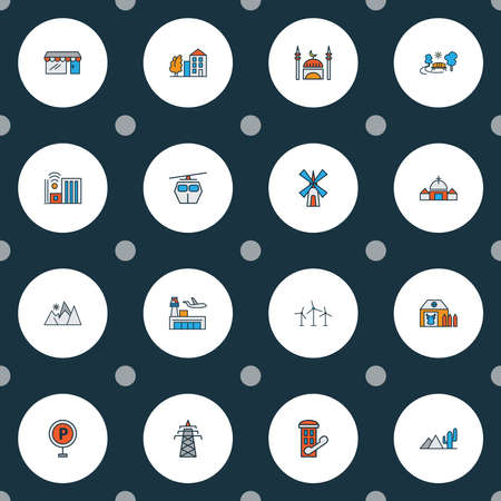 City icons colored line set with airport, mill, farm house and other phone cabin elements. Isolated vector illustration city icons. Ilustrace