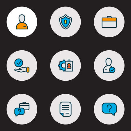 Work icons colored line set with choice, privacy, question and other safety elements. Isolated vector illustration work icons.
