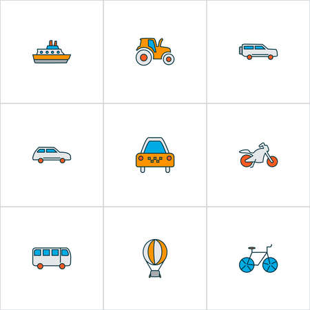 Transport icons colored line set with suv, bus, city car and other cab elements. Isolated vector illustration transport icons.
