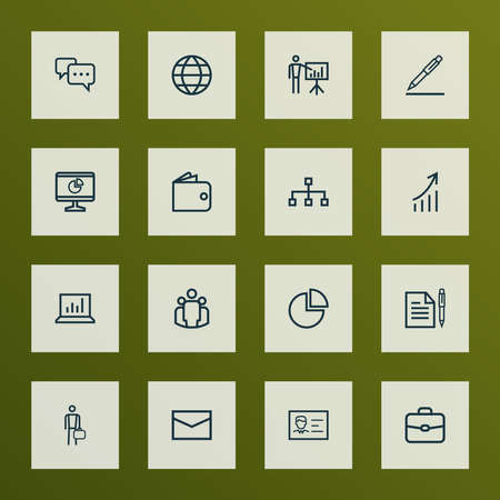 Business icons line style set with pie bar, suitcase, presenting man and other growing chart elements. Isolated vector illustration business icons.