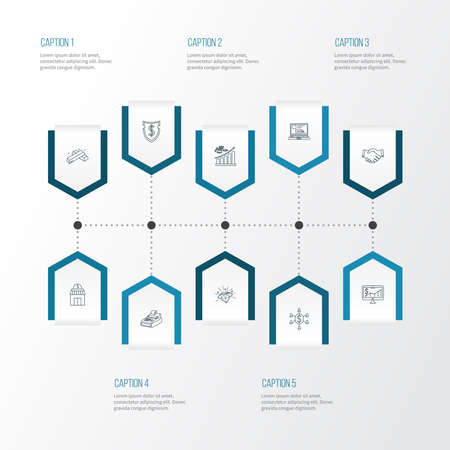 Economy icons line style set with handshake, profit, gold bars partnership elements. Isolated vector illustration economy icons.