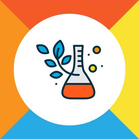 Plant laboratory icon colored line symbol. Premium quality isolated flask element in trendy style.