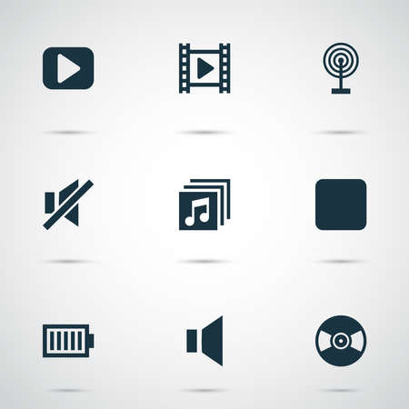 Music icons set with vinyl, sound off, broadcast and other pause elements. Isolated vector illustration music icons.
