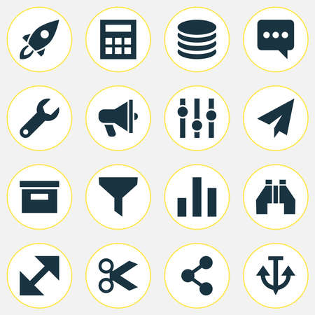 User icons set with find, share, anchor and other origami elements. Isolated vector illustration user icons.