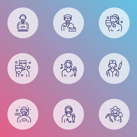 Job icons line style set with actor, programmer, singer and other theater elements. Isolated vector illustration job icons.