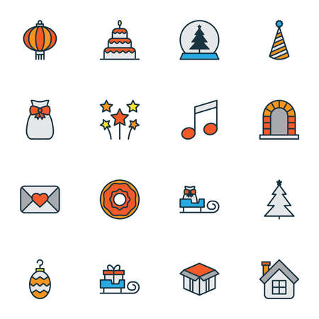 Happy icons colored line set with christmas toy, bauble, chinese lantern and other doughnut elements. Isolated illustration happy icons. Stockfoto