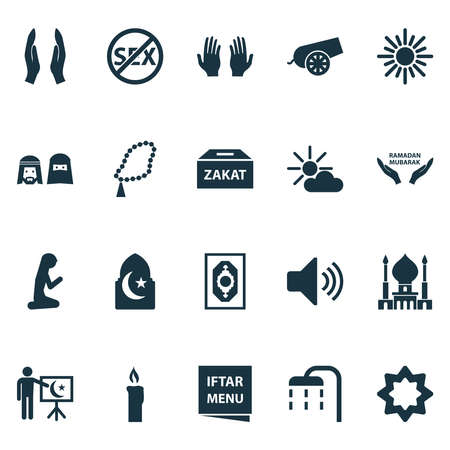 Holiday icons set with bomb, asr, rosary and other gods house elements. Isolated illustration holiday icons.