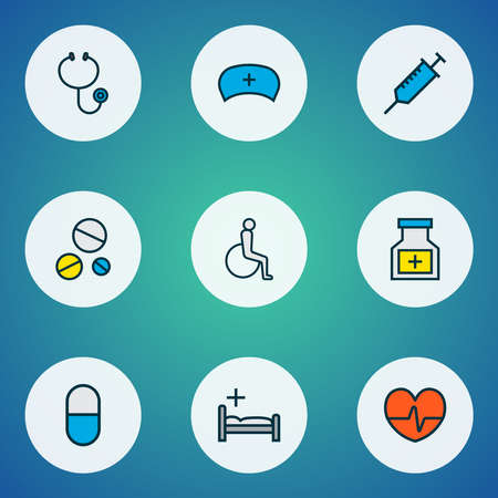 Antibiotic icons colored line set with pill bottle, syringe, antibiotic and other instrument elements. Isolated illustration antibiotic icons.