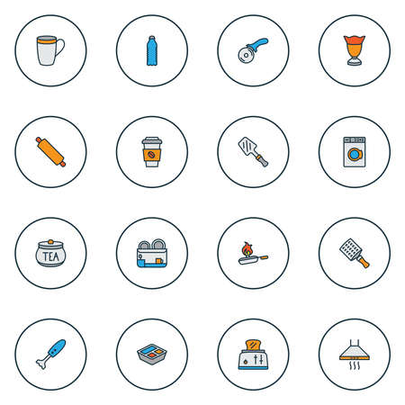 Cook icons colored line set with pizza knife, rolling pin, hand grater zester elements. Isolated illustration cook icons.