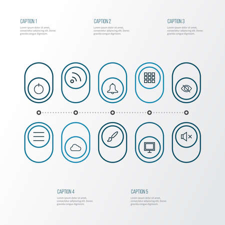 Interface icons line style set with silence, wifi, storage and other power on elements. Isolated illustration interface icons.