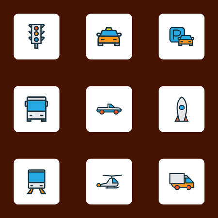 Shipment icons colored line set with train, parking sign, pickup and other suv elements. Isolated illustration shipment icons. Stockfoto