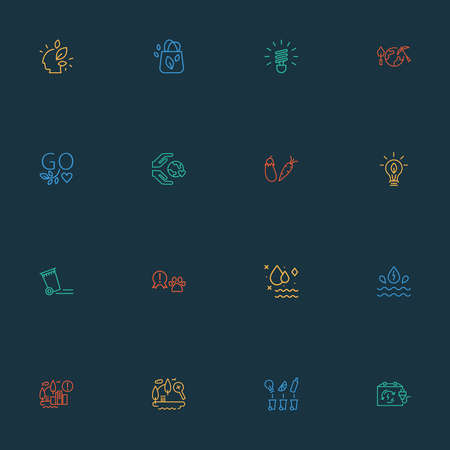 Environment icons line style set with care about world, go vegan, expansion of the city and other garbage elements. Isolated illustration environment icons. Stockfoto