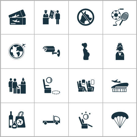 Airport icons set with business class seats, pregnant woman, stewardess and other airplane pass elements. Isolated illustration airport icons. Stockfoto