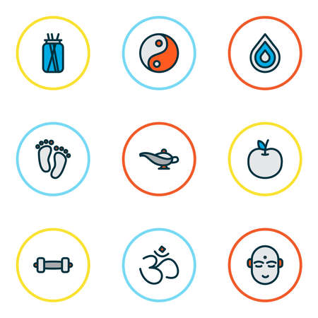 Meditation icons colored line set with feet, hinduism, lamp and other tao elements. Isolated vector illustration meditation icons. Ilustrace