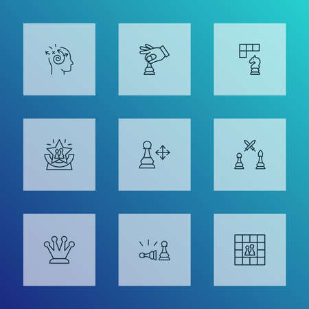 Game icons line style set with play, pawn beats pawn, pawn multiple directions and other playing elements. Isolated vector illustration game icons.