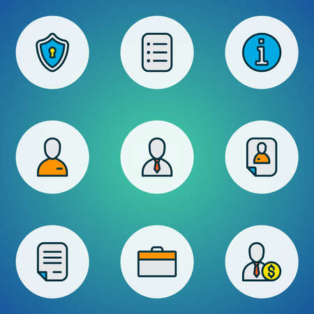 Job icons colored line set with privacy, rich man, information and other portfolio elements. Isolated vector illustration job icons.