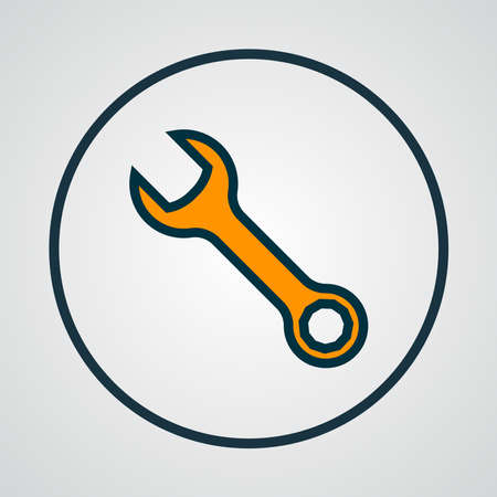 Wrench icon colored line symbol. Premium quality isolated spanner element in trendy style.