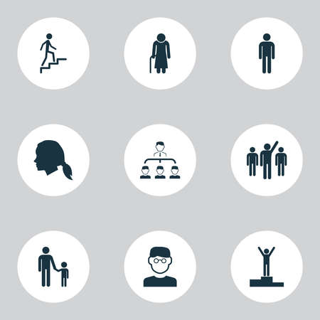 Human icons set with smart man, grandma, male scientist elements. Isolated vector illustration human icons. Ilustrace