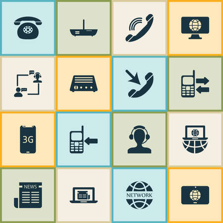 Communication icons set with network communications, operator with customer, mobile data exchange and other daily press elements. Isolated vector illustration communication icons. Ilustrace