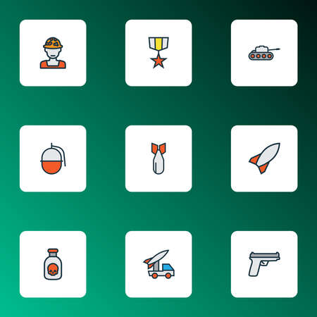 Army icons colored line set with artillery, soldier, gun and other bomb elements. Isolated vector illustration army icons.