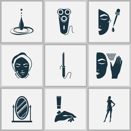 Beautiful icons set with mirror, face lifting, water drop and other curler elements. Isolated vector illustration beautiful icons. Ilustrace