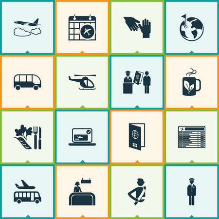 Travel icons set with helicopter, flight date, passport control and other registration board elements. Isolated vector illustration travel icons.