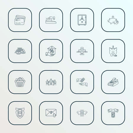 Financial icons line style set with get payment, deposit, safe and other earnings elements. Isolated vector illustration financial icons.