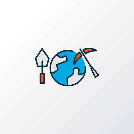 Geoscience icon colored line symbol. Premium quality isolated geology element in trendy style. Ilustrace