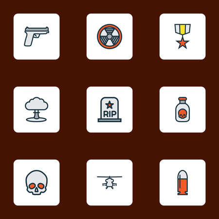 Battle icons colored line set with poison, medal, bio hazard and other radioactive elements. Isolated vector illustration battle icons. Ilustrace
