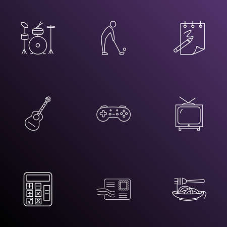 Lifestyle icons line style set with game console, drums, guitar and other television elements. Isolated vector illustration lifestyle icons.